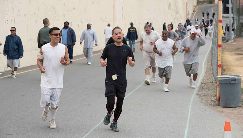 Phil Peng and Skid Row Running Club at San Quentin